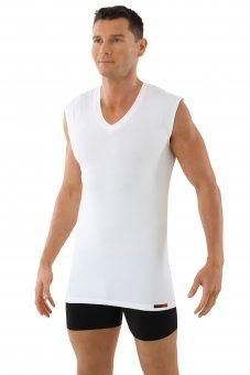 Men's functional Coolmax undershirt sleeveless with v-neck white