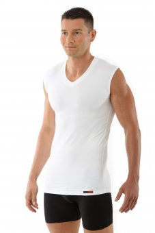"""Men's undershirt sleeveless flat v-neck """"Stuttgart"""" white"""