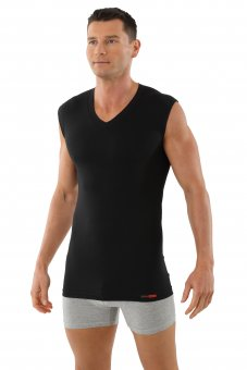 "Mens sleeveless flat v-neck undershirt ""Hamburg"" black"