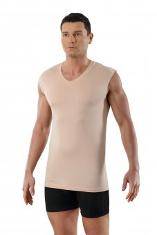 Men's invisible sleeveless undershirt with v-neck MicroModal light in nude beige