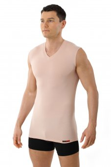 "Men's invisible tank top undershirt ""Hamburg"" v-neck stretch cotton nude"