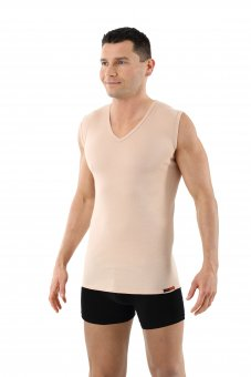 Men's invisible 100% pure organic cotton undershirt, sleeveless with v-neck nude beige