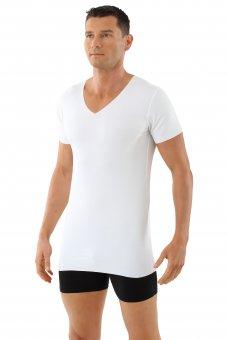 Laser cut seamless v-neck undershirt short sleeves stretch cotton white