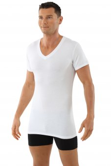 "Men's MicroModal v-neck short sleeve undershirt ""Stuttgart light"" white"