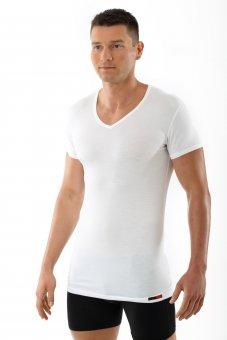 """Men's MicroModal v-neck short sleeve undershirt """"Stuttgart light"""" white"""