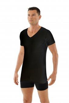 Laser cut seamless v-neck undershirt short sleeves stretch cotton black