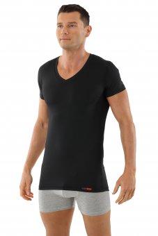 Men's functional Coolmax business undershirt with v-neck black