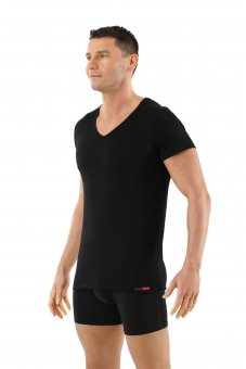 Men's undershirt merino wool short sleeves v-neck black