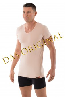 "Men's invisible undershirt ""Hamburg"" short sleeves v-neck stretch cotton nude S"