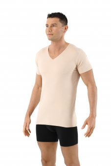 Laser cut invisible seamless v-neck undershirt stretch cotton nude