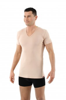 "Men's invisible organic cotton undershirt ""Berlin"" with v-neck nude"