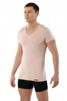 Men's invisible functional Coolmax business undershirt with v-neck nude beige