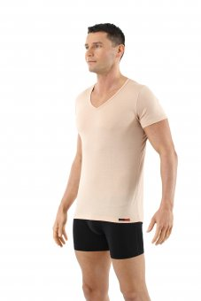 Men's undershirt merino wool invisible short sleeves v-neck