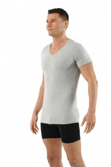 Men's organic stretch cotton undershirt with short sleeves and v-neck gray