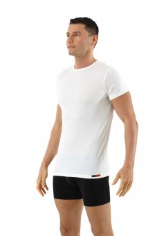 Men's undershirt merino wool short sleeves crew neck off-white