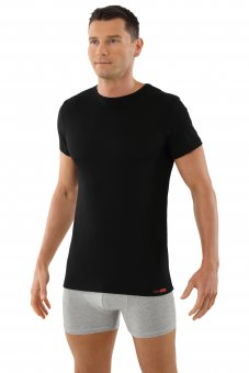 Men's mulesing-free merino wool undershirt short sleeves crew neck black