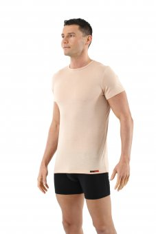 Men's mulesing-free merino wool undershirt short sleeves crew neck invisible beige