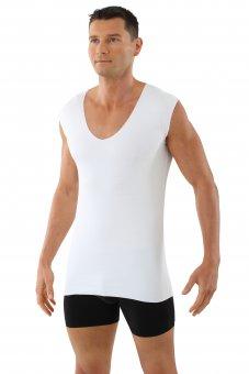 Laser cut seamless deep v-neck undershirt sleeveless stretch cotton white L