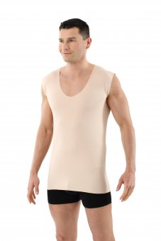 Laser cut invisible seamless deep v-neck undershirt stretch cotton nude