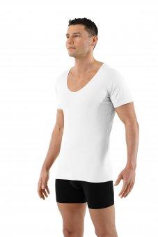 Laser cut seamless deep v-neck undershirt short sleeves stretch cotton white