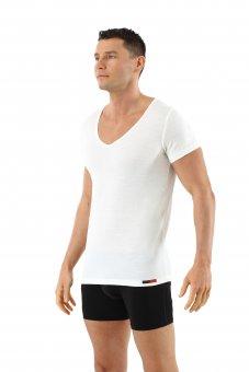 Men's undershirt merino wool short sleeves deep v-neck off-white