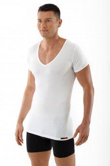 """Men's MicroModal deep v-neck undershirt """"Stuttgart light"""" short sleeves white"""