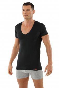 Men's functional Coolmax business undershirt with deep v-neck black