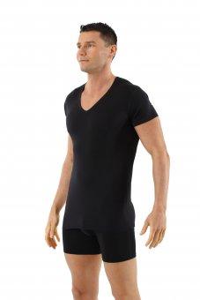 Men's mulesing-free merino wool undershirt short sleeves deep v-neck black