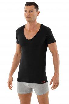 "Men's undershirt ""Hamburg"" flat deep v-neck stretch cotton black"