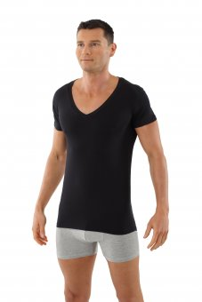 "Men's short sleeve deep v-neck  undershirt ""Stuttgart light"" black"