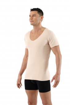 Laser cut invisible seamless deep v-neck undershirt short sleeves stretch cotton beige
