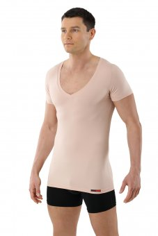 Men's invisible functional Coolmax business undershirt with deep v-neck nude