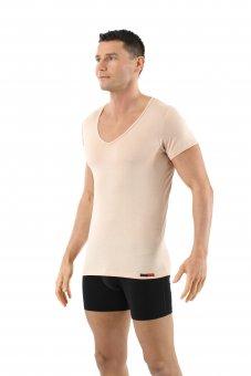 Men's undershirt merino wool invisible short sleeves deep v-neck