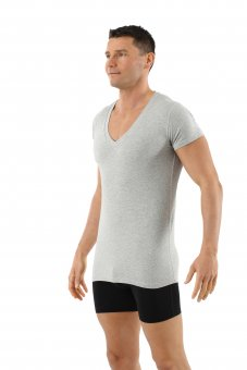 Men's organic stretch cotton undershirt with short sleeves and deep v-neck gray