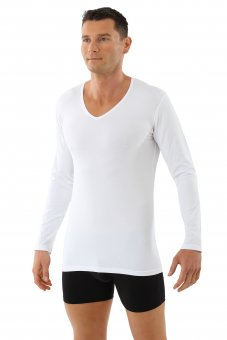 Men's longsleeve undershirt organic stretch-cotton v-neck white