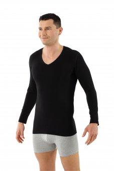 Men's longsleeve undershirt organic stretch-cotton v-neck black