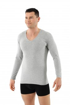 Men's longsleeve undershirt organic stretch-cotton v-neck gray