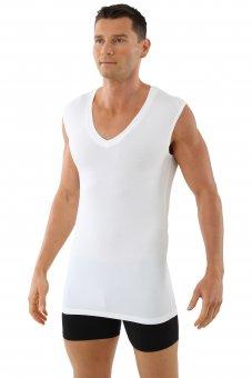 """Men's MicroModal sleeveless undershirt """"Stuttgart light"""" deep v-neck white"""