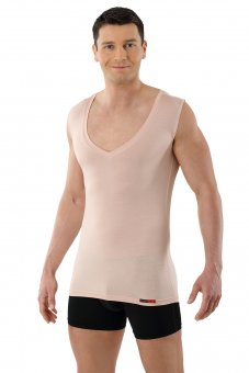 "Men's invisible undershirt ""Stuttgart light"" deep-v MicroModal light nude"