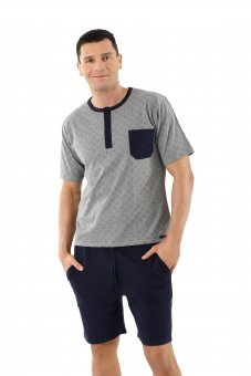 Men's pajamas with short sleeves and short pants stretch cotton, blue-gray