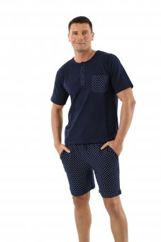 Men's pajamas with short sleeves and short pants stretch cotton, blue