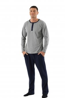 Men's pajamas with long sleeves and long pants stretch cotton blue-gray