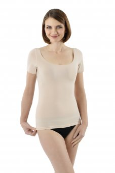 Invisible women's undershirt extra wide and deep scoop neck stretch cotton nude