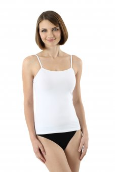 Women's camisole tank top with spaghetti straps stretch cotton white