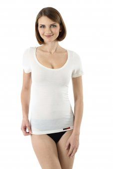 Women's Merino wool undershirt deep scoop neck short sleeves off-white