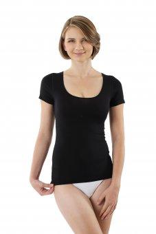 Women's MicroModal undershirt short sleeves and deep scoop neck black