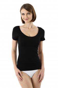 Women's Merino wool undershirt with deep scoop neck short sleeves black