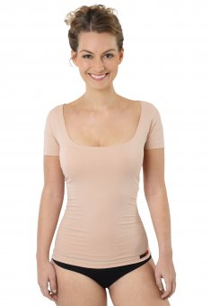 Women's invisible short sleeve stretch cotton undershirt nude