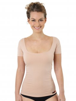 women's invisible undershirt nude-colored short sleeves cotton