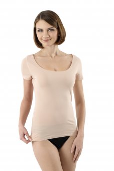 Laser cut invisible seamless undershirt with short sleeves stretch cotton nude